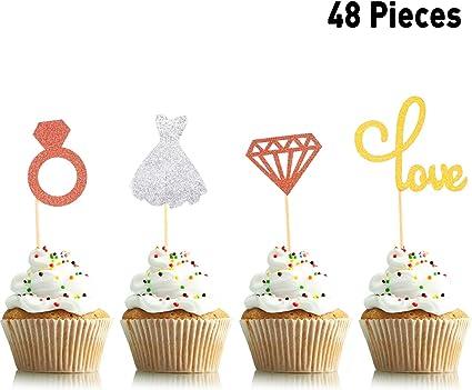 Supplies Birthday Gifts Cake Decor Picks Cupcake Toppers Glitter Diamond Ring