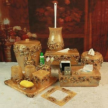 BL Romántico Señor Casa Amarillo cuarto de baño amenity Kit Resina 13 pieza Juego: Amazon.es: Hogar