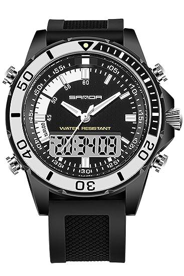 Sanda para hombre relojes Digital analógico LED Militar deportes electrónicos relojes de pulsera Negro: Amazon.es: Relojes