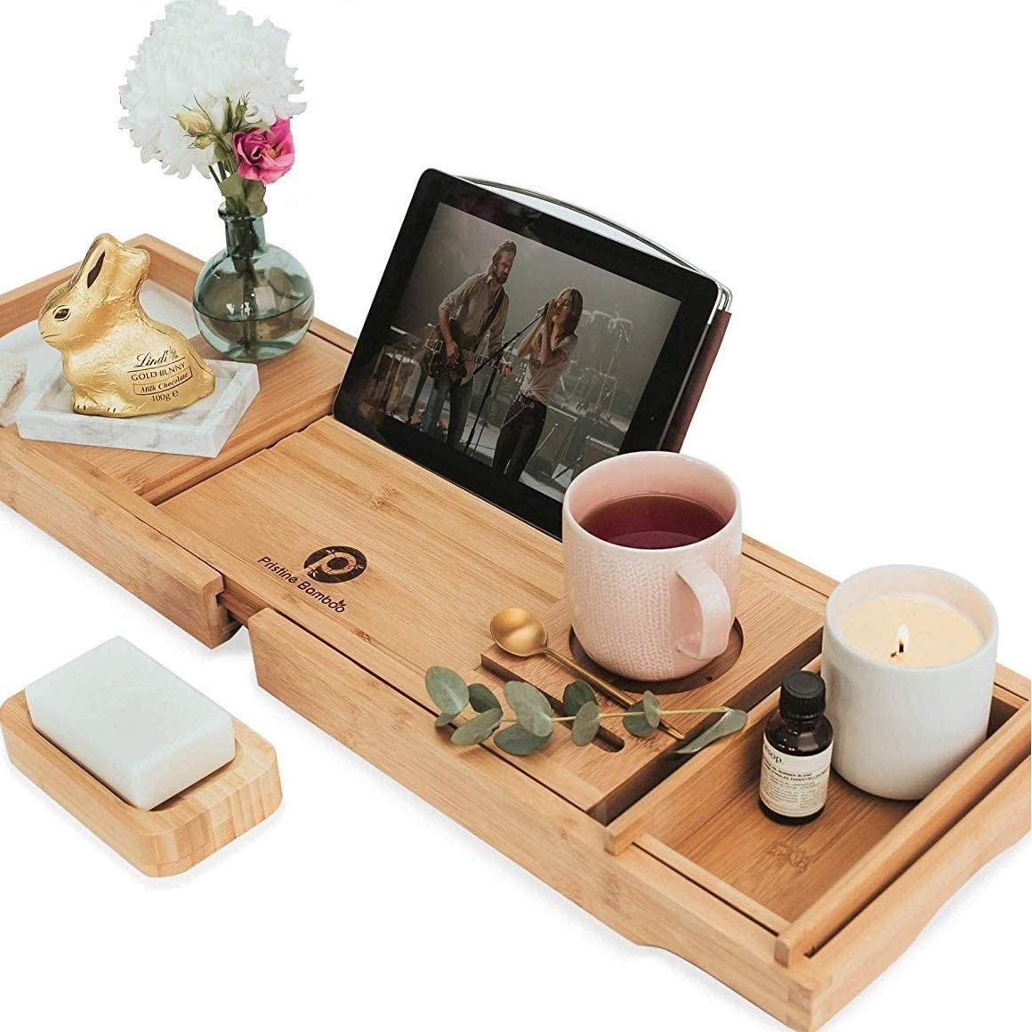 Amazon Com Pristine Bamboo Bath Caddy Tray For Tub Expandable Bath Tray For Two Bath Tub Tray For Bath With Ipad Iphone Book And Wine Glass Holder Calming Natural Kitchen