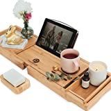 PRISTINE BAMBOO Bathtub Caddy - Eco-friendly, Waterproof, Book, Wine, iPad Holder - Expandable Wood Tray For Bath - For…
