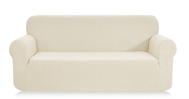 E EBETA Funda de sofá, Tejido Jacquard de poliéster y Elastano, Funda de Clic-clac elástica Cubiertas de sofá de 3 Plaza (Marfil, 185-235 cm)