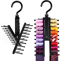 IPOW Upgraded 2 PCS See Everything Cross X 20 Tie Rack Holder,Rotate to Open/Close Tie and Belt Hanger With Non-Slip…