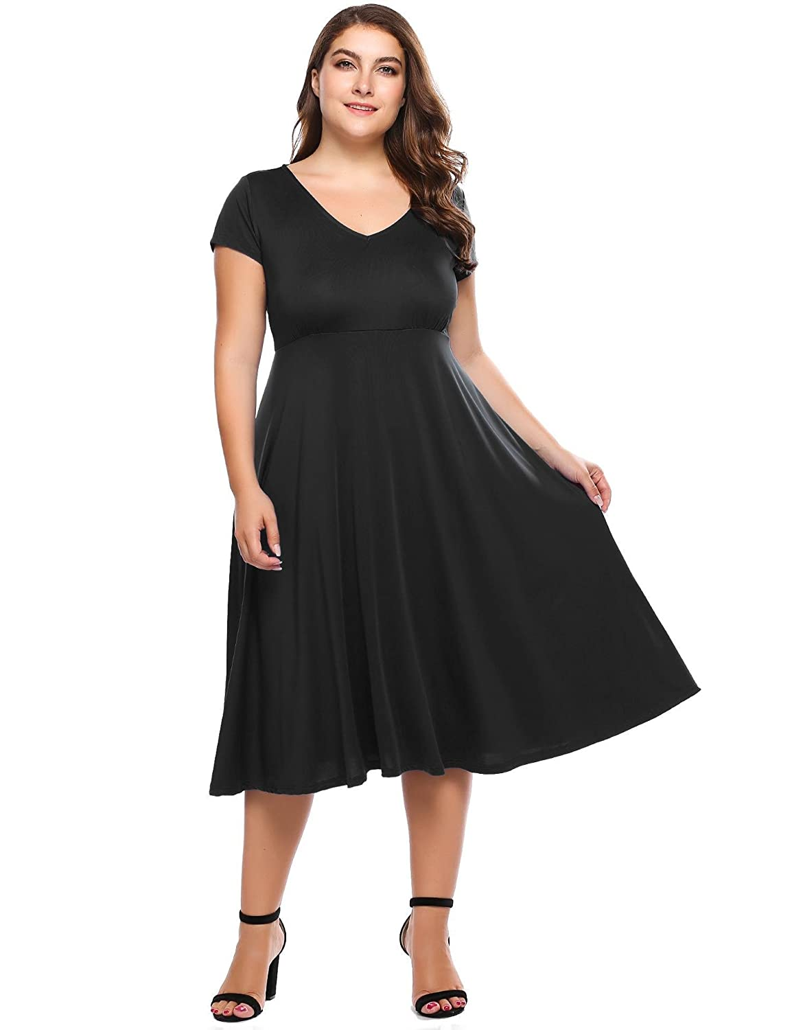 1722e4bea3a Womens Plus Size Short Sleeves V-Neck Fit and Flare Maxi Party Dress -  Involand Ladies Long Pleated Swing Sundress at Amazon Women s Clothing  store