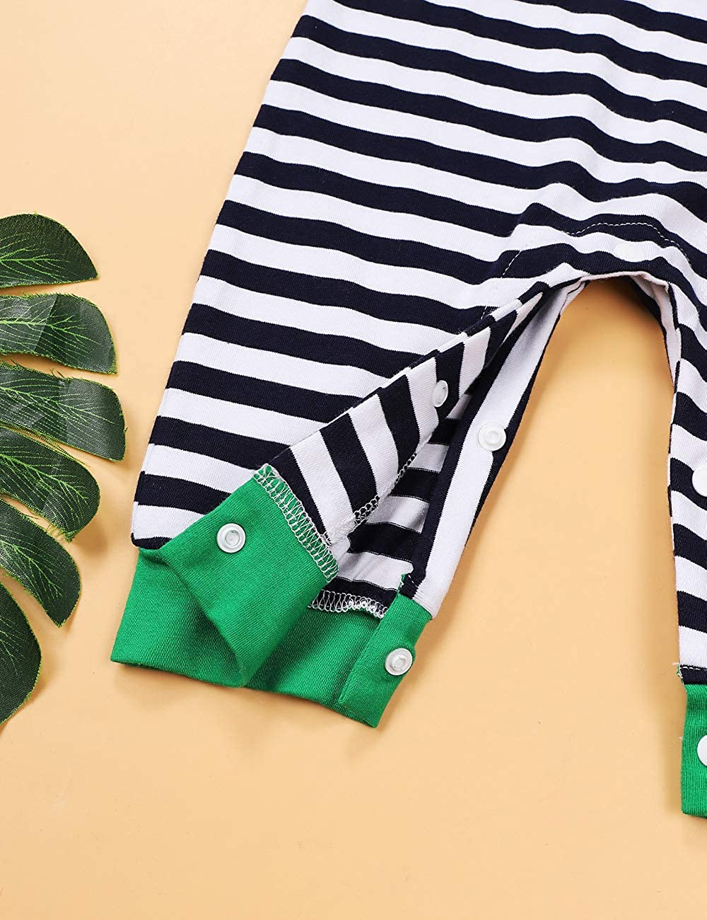 RCPATERN My First St.Patricks Day Outfits Baby Girl Boy Clothes Long Sleeve Stripe Romper One-Piece Bodysuit Overall