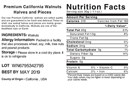 Amazon.com : European Nuts Premium Crunchy Light California Walnuts Half &  Pieces | Source of Nutrition and Omega 3 | Jumbo Size Bag - 1 lb : Grocery  ...