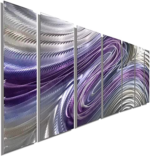 Purple Large Metal Wall Art, Contemporary Wall Painting, Abstract Hand-Painted Metallic Wall Sculpture – Metal Wall Decor by Jon Allen Metal Art – Wild Imagination – 68 x 24