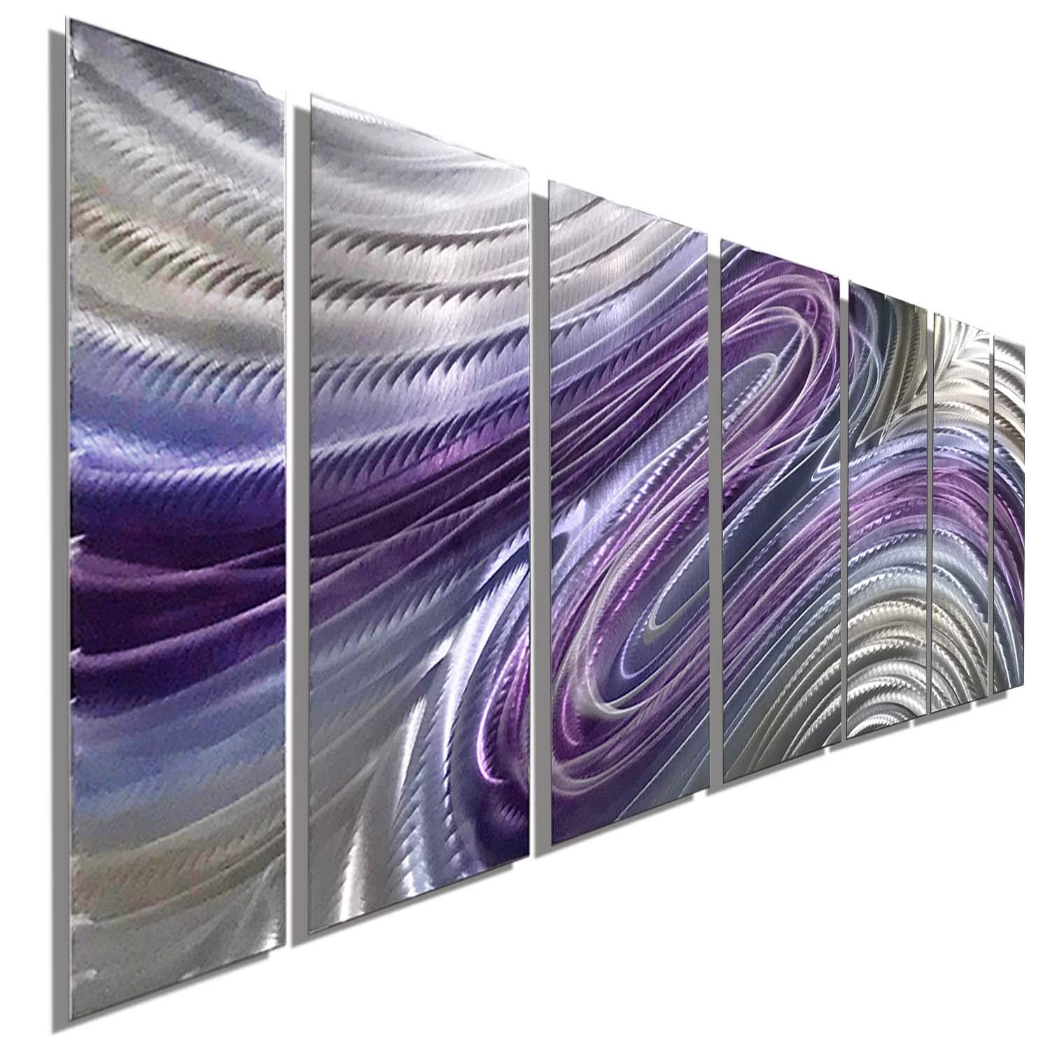 """Purple Large Metal Wall Art, Contemporary Wall Painting, Abstract Hand-Painted Metallic Wall Sculpture - Metal Wall Decor by Jon Allen Metal Art - Wild Imagination - 68"""" x 24"""""""