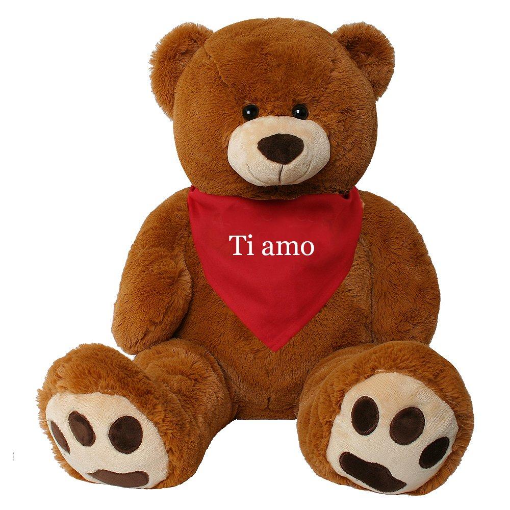 TE-Trend XXL Oso de Peluche gigante Peluche Animal De Peluche peluche gigante Osito gigante oso Rico marrón 135 cm Paño romántico Textos - ti amo