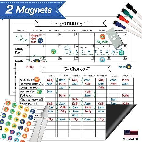 amazon com magnetic behavior chore chart set 17 x 11 dry