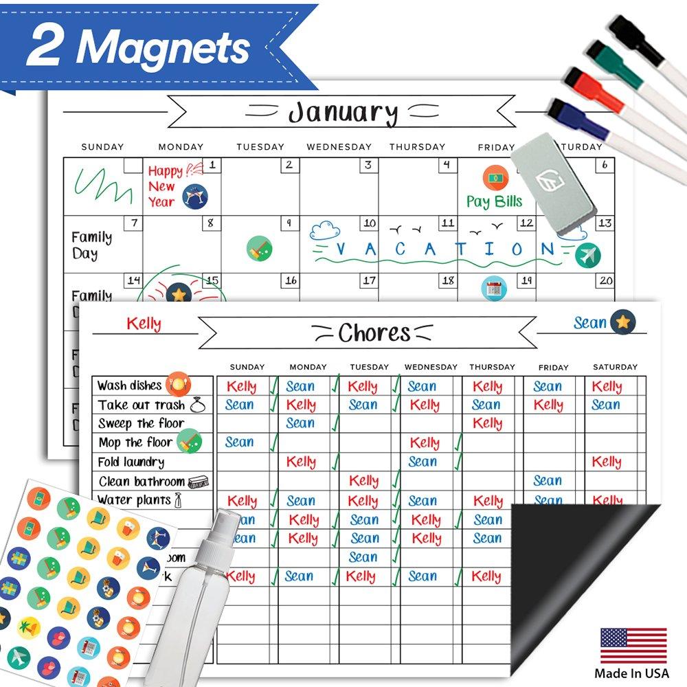 "Magnetic Behavior Rewards Chore Chart Set – Multiple Kid Chore Chart System w/Reusable Monthly Calendar, Responsibility Magnets & Dry Erase Refrigerator Reward Incentive – 17"" x 11"""