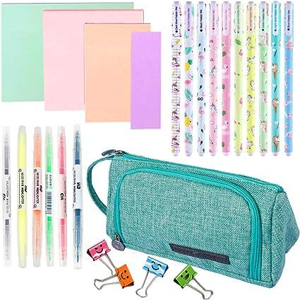 Grandes estuches de lápices verdes para niñas,útiles escolares de papelería, notas adhesivas, resaltadores para mujeres (25 piezas): Amazon.es: Oficina y papelería