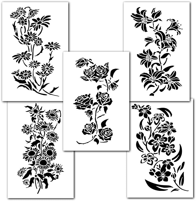 Geometric Flower Stencil Embossing Stone Decor Cardmaking Ink Airbrush Paint #6