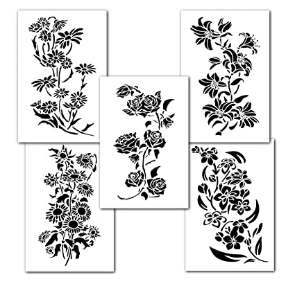 Mixed Flower Painting Stencils Wall Decorating Airbrush Craft 14