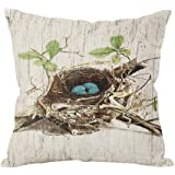 Bird's Nest Throw Pillow Case Vintage Cushion Cover Pillowcase Gift 18 * 18 Hidden Zipper Pillow Cover