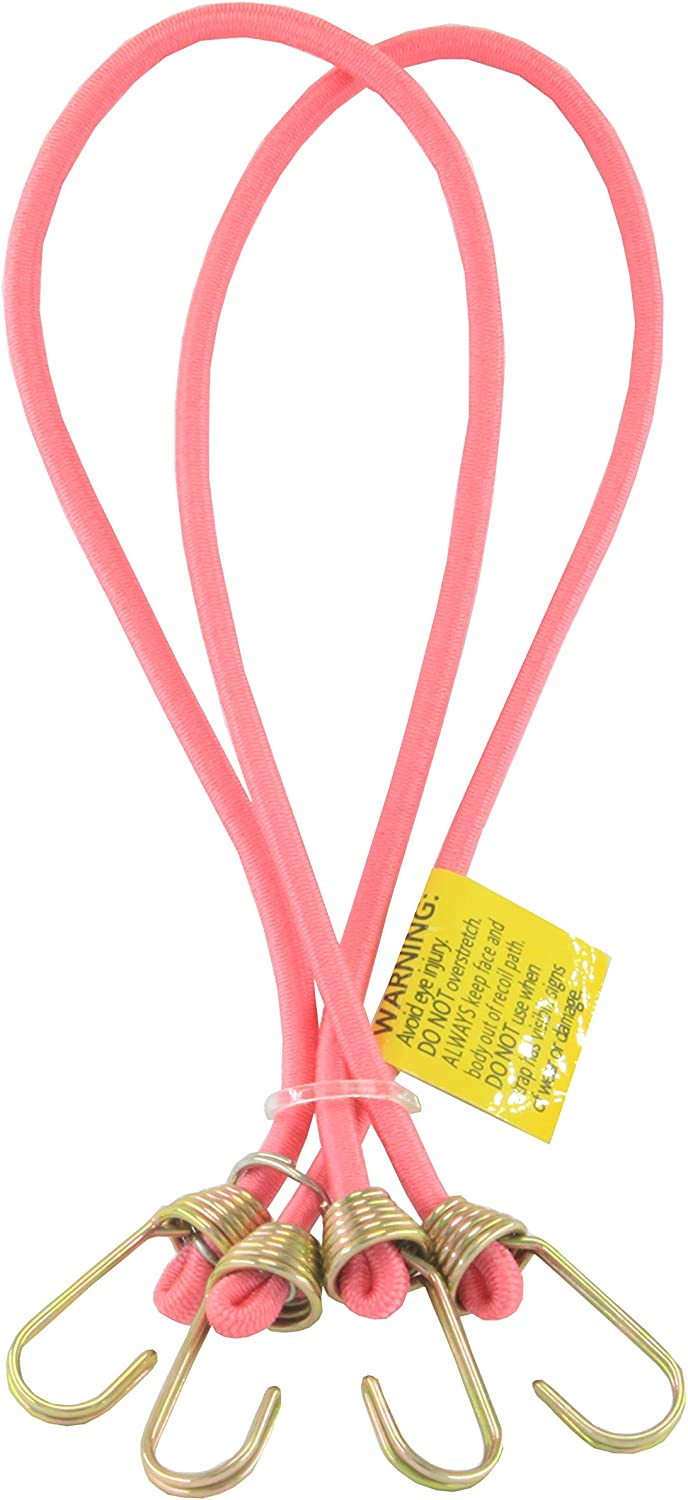 14in X 2, pink LONG Multipurpose Mini Bungee Cord with Steel Hook Ideal for Tarps Tents Wire Racks other Camping Accessories and Auto Park Accessories