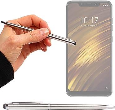 DURAGADGET Lápiz Stylus Plata + Bolígrafo (2 En 1) para Smartphone Xiaomi Mi 8 Lite, Xiaomi Mi 8 Pro, Xiaomi Pocophone F1: Amazon.es: Electrónica