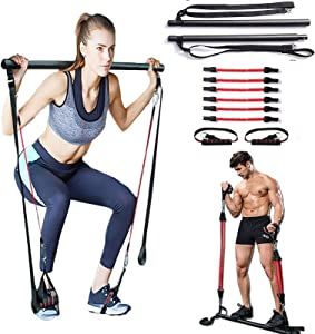 Pilates Bar Kit,Portable Pilates Bar with Adjustable Resistance Band for Home Gym, Portable Pilates Total Body Workout, Yoga, Fitness, Stretch