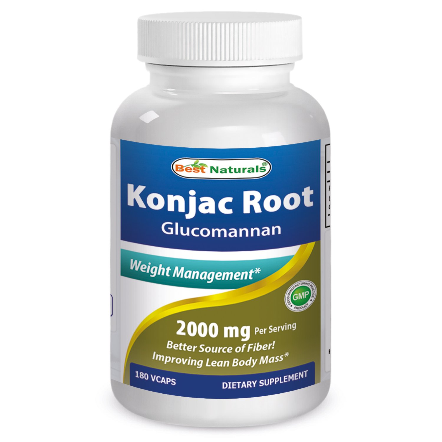 Best Naturals Konjac Root 2000mg, 180 Count by Best Naturals