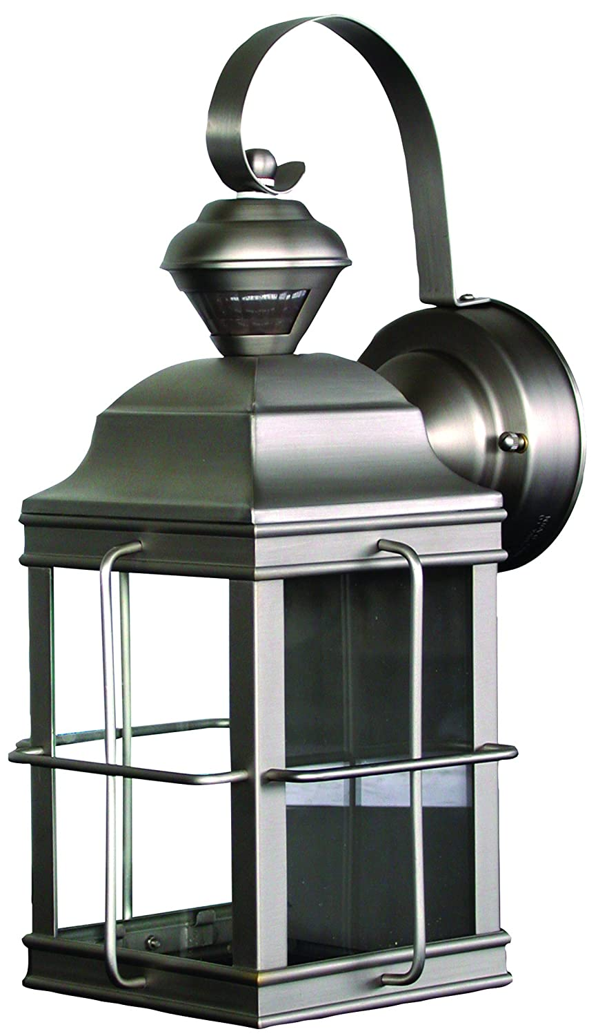 ... Heath Zenith Hz 4144 Nb Motion Sensing 4 Sided New England Style Lantern Brushed Nickel Outdoor ...  sc 1 st  Outdoor Lighting Ideas & Motion Sensing Outdoor Light Fixtures - Outdoor Lighting Ideas