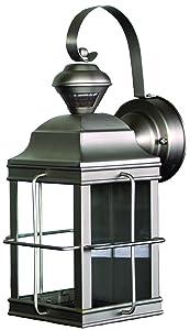 Heath Zenith HZ-4144-NB Motion-Sensing 4-Sided New-England-Style Lantern, Brushed Nickel