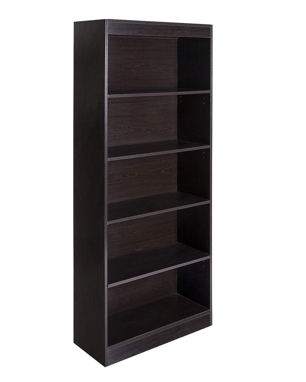 OneSpace 50-LD01ESSHLF Essentials 5-Tier Book Shelf Bookshelf, Espresso