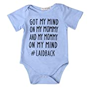 Newborn Baby GOT My Mind ON My Mommy Funny Bodysuits Rompers Outfits Blue(6-12M, Blue)