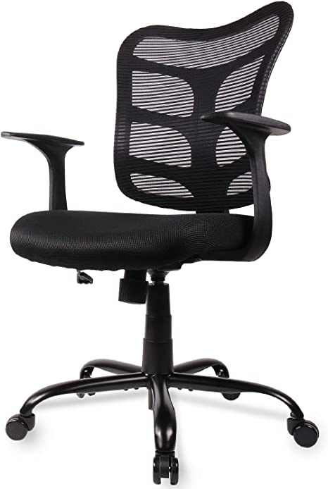 Smugdesk 0581F Ergonomic Office Mesh Computer Desk Swivel Task Chair with  Armrests and Lumbar Support, Black