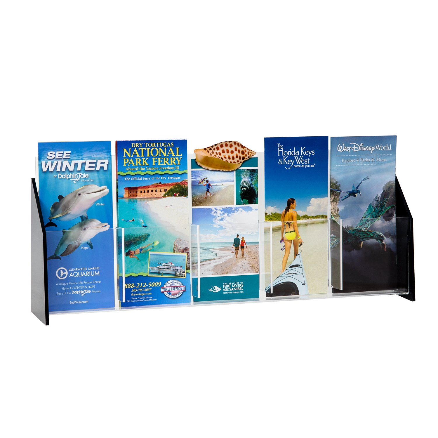 Source One Deluxe Black Acrylic Brochure Holders for Tri-Folds, Multiple Sizes Available (1 Pack, 5 Pocket)