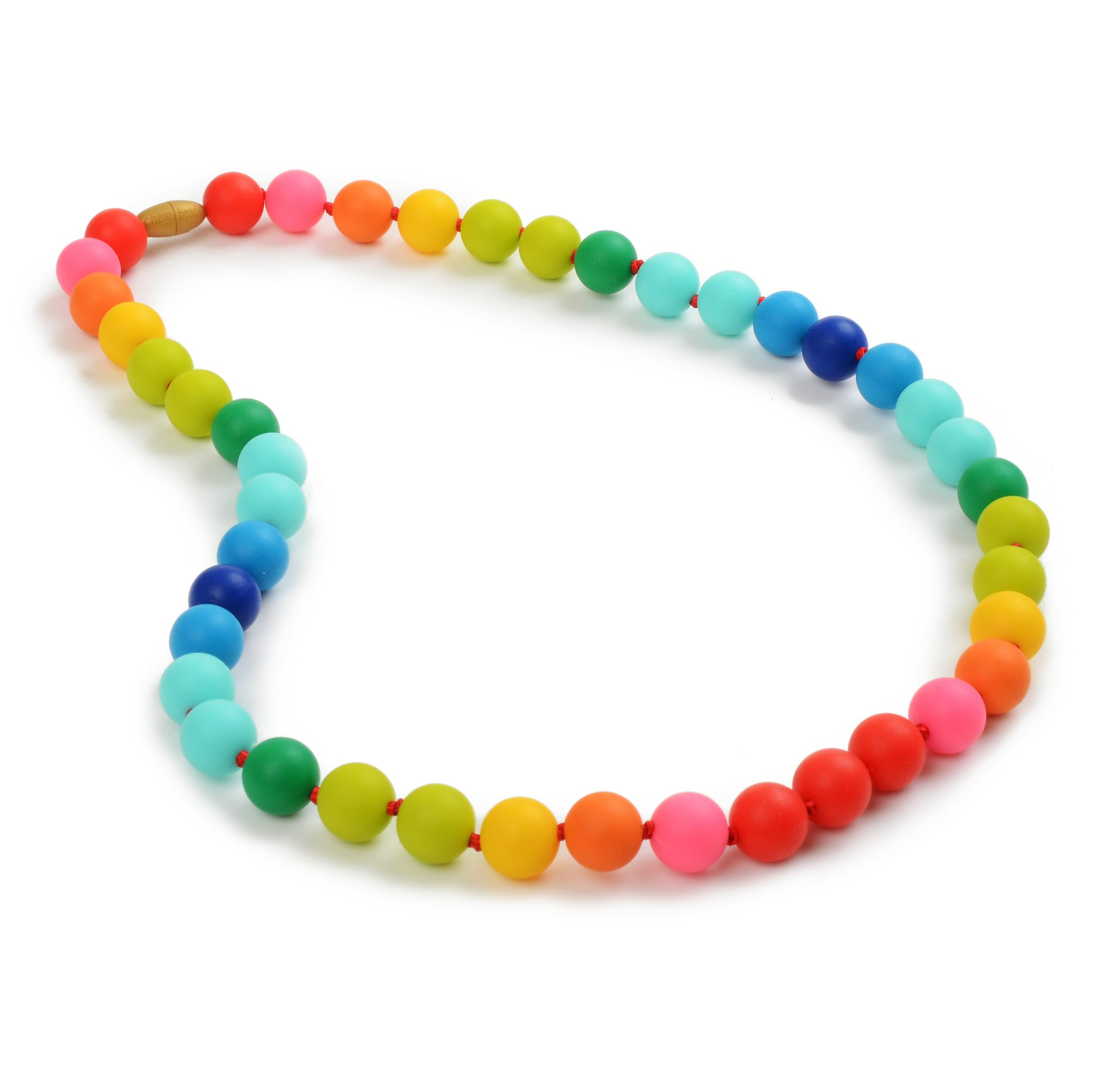 Chewbeads Christopher Teething Necklace (Rainbow) - Original Fashionable Teething Jewelry for Mom. 100% Medical Grade Silicone Safe for Teething Babies and Toddlers. BPA Free