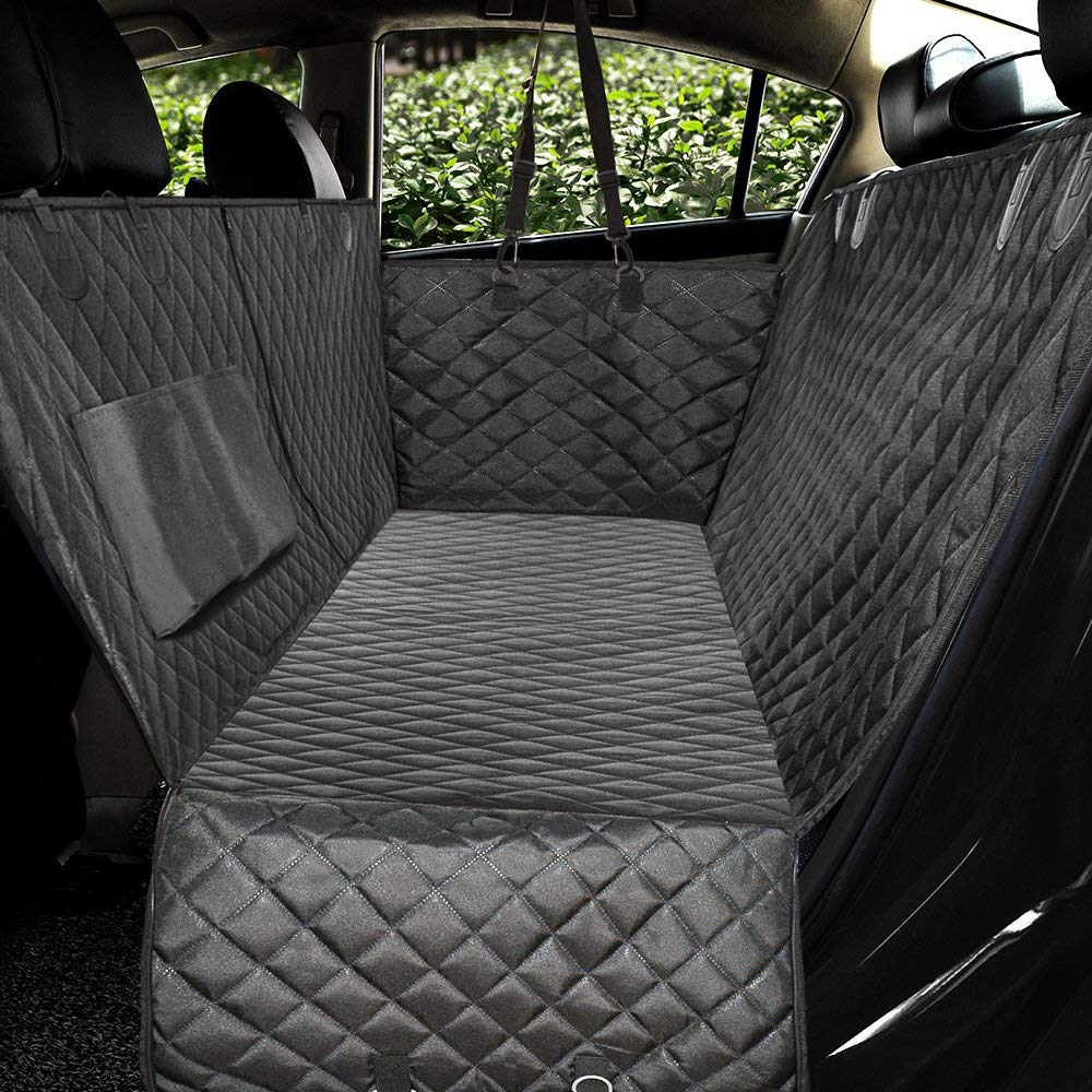 Honest Luxury Quilted Dog Car Seat Covers with Side Flap Pet Backseat Cover for Cars, Trucks, and Suv's - Waterproof & Nonslip Diamond Pattern Dog Seat Cover(Door Protector) by HONEST OUTFITTERS