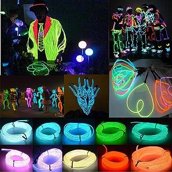 Neon LED Lamp Light Glow EL Wire String Strip Car Party Waterproof 10Colors 1-5M