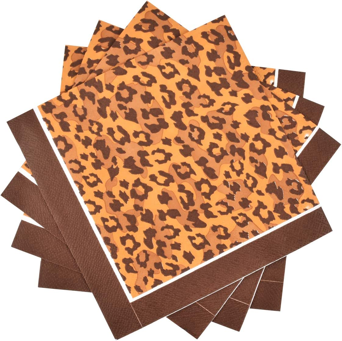 Gatherfun Disposable Paper Napkins 3-ply Leopard Pattern Beverage Napkins for Animal Safari Party, Dinner, Picnic, Birthday Party(6.5X6.5 in, 50-Pack)