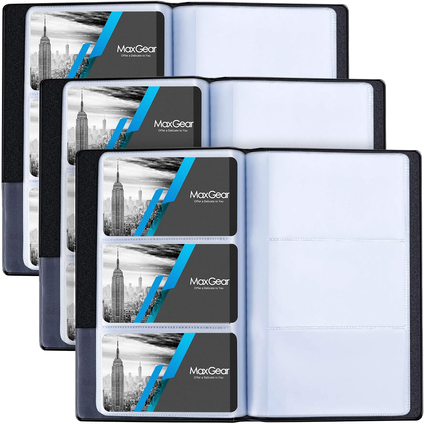 MaxGear 3 Pack Business Card Organizer Business Card Holder Book, Portable Business Card Binder File Sleeve Storage, Business Card ess Card File Name Card Holder for Office, Capacity: 240 Cards, Black