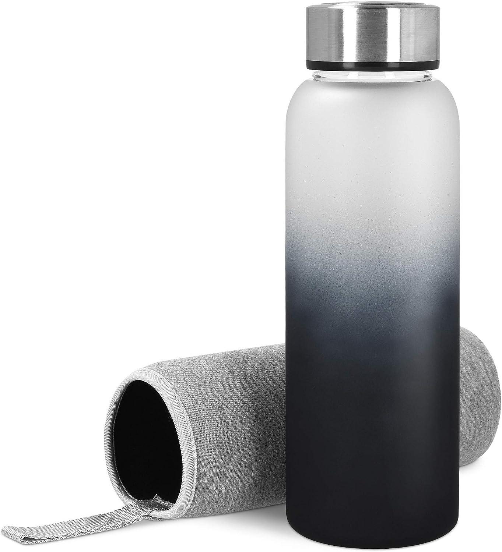 Navaris Botella de Agua de Cristal - Vidrio de borosilicato 950 ML - Tapa hermética - Cantimplora Resistente y rellenable - con Funda de Neopreno