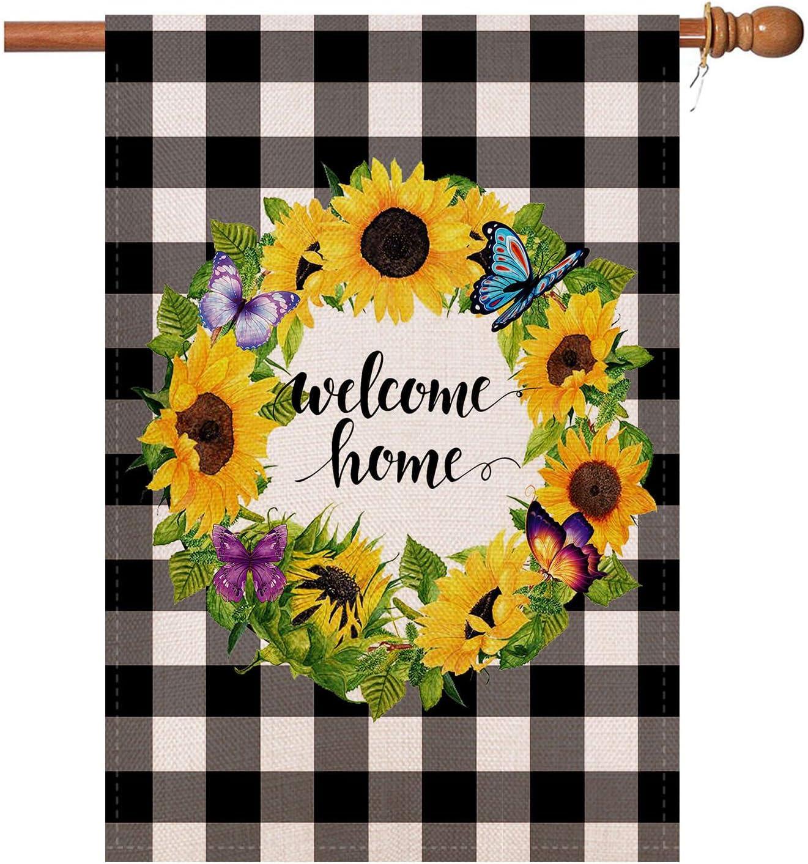 lovegarden YaoChong Welcome Sunflower Wreath House Flag Vertical Double Sided 28 x 40 Inch, Buffalo Check Plaid Rustic Burlap Black White Spring Summer Farmhouse Burlap Yard Outdoor Décor