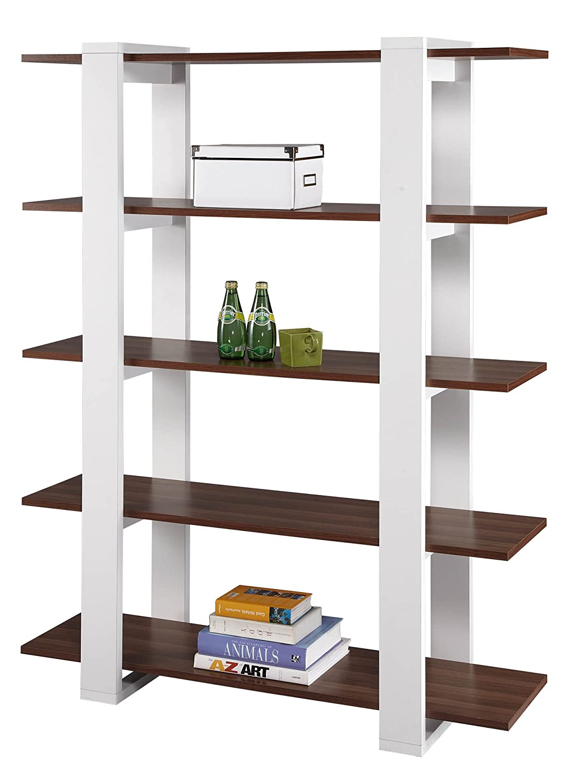 ioHOMES Marcel 5-Shelves Display Stand - White and Walnut