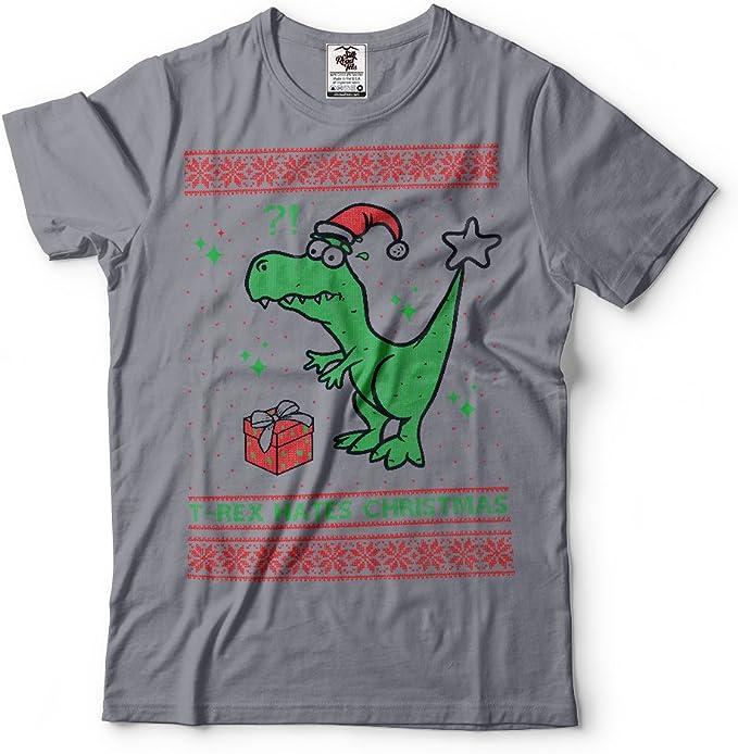 Silk Road Tees T-Rex Odia a los Hombres de Camisa Divertida para Trex Navidad Camiseta de Navidad FEA Camiseta Regalo suéter: Amazon.es: Ropa y accesorios