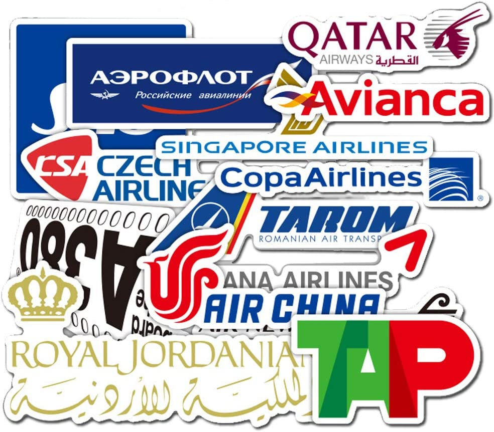 55Pcs Airline Logo Theme Stickers Variety Vinyl Car Sticker Motorcycle Bicycle Luggage Decal Graffiti Patches Skateboard Stickers for Laptop Stickers for Kid and Adult