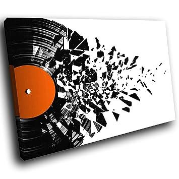 AB895C gerahmte Leinwanddruck Bunte Wand-Kunst - Schwarz Weiß Orange ...