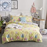 BuLuTu Bedding Owl Print Kids Duvet Cover Sets Twin Yellow For Boys Girls Reversible Lovely Tree Bedding Cover Sets Hidden Zipper Closure With 4 Corner Ties(No Comforter)