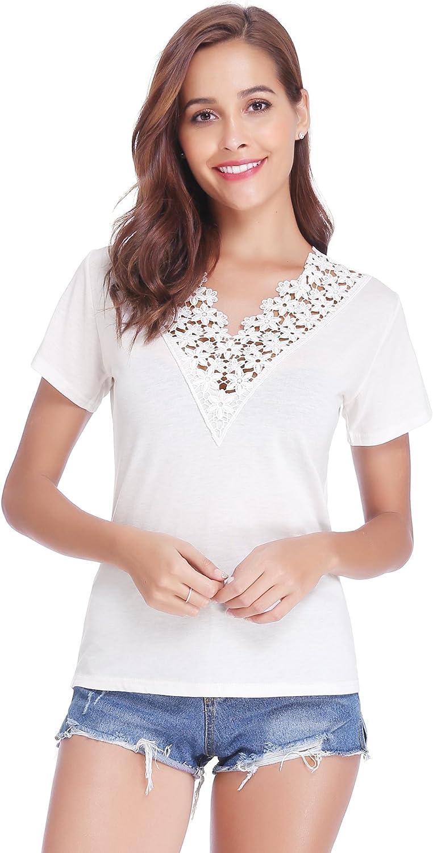Abollria Maglia Donna Manica Corta Maglietta Casual Estiva T-Shirt Donna Scollo V Top Basic e Capo Comodo per Estate