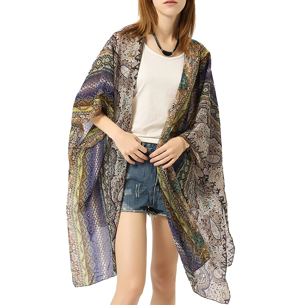 ZISUEX Women Chiffon Kimono Cardigan Blouse Lightweight Cover Up Silk Shawl Bat Sleeve Bikini (Blue Gray-27)