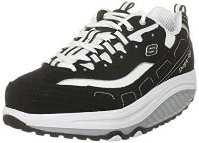 Women SKETCHERS Shape Ups Black White Fit Walking Exercise Shoes Size 8.5