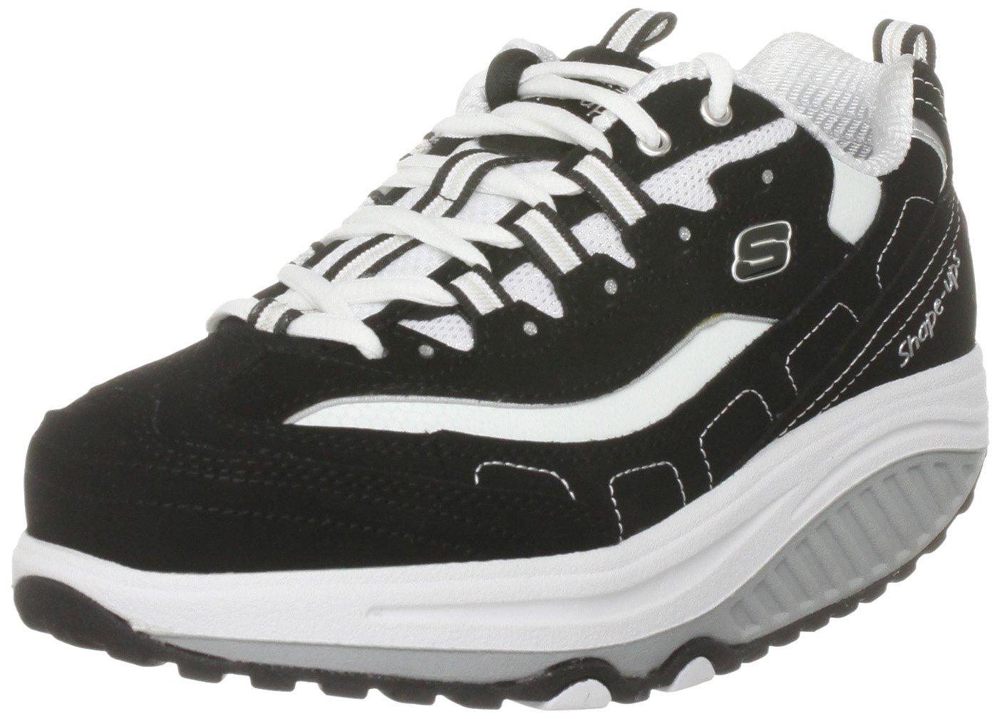 Skechers Women's Shape Ups Strength Fitness Walking Shoe,Black/White,9 M US