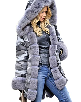 f0ede3ca4f1 Aofur Womens Warm Long Coat Thick Fur Collar Hooded Quilted Jacket Slim  Winter Parka Outwear (