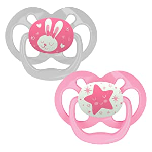 Dr. Brown's Advantage Glow-in-The-Dark 2 Piece Stage 2 Pacifiers, Pink, 6-12 Months