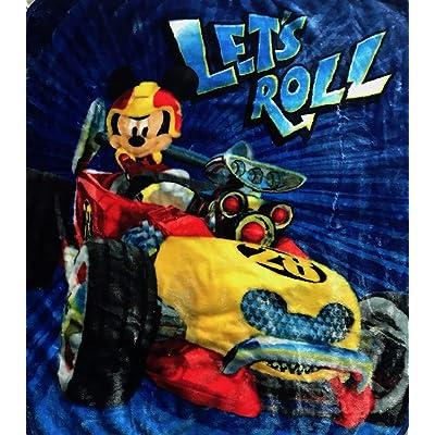 Disney Mickey Mouse Let's Roll Royal Plush Raschel Throw 40 x 50 Blanket: Home & Kitchen