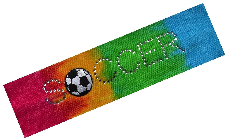 (ファニーガールデザインズ) Funny Girl Designsヘアバンド サッカーボールラインストーン 伸縮コットン ガールズ ティーンズ 大人 サッカーチームギフト B00KG9PKHI Rainbow Tie Dye Rainbow Tie Dye
