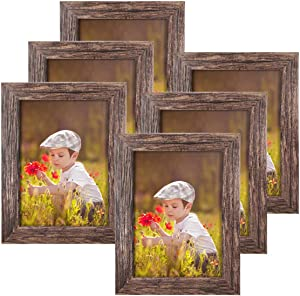 Q.Hou 5x7 Picture Frame Wood Pattern Rustic Brown Photo Frames Packs 4 with High Definition Glass for Tabletop or Wall Decor (QH-PF5X7-BR)